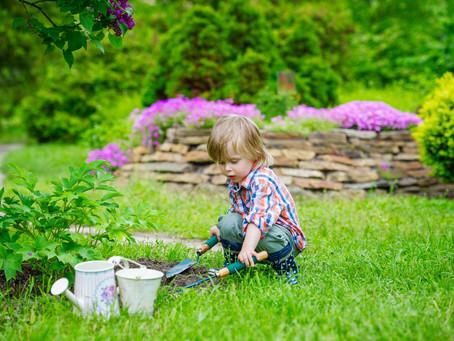 L'enfant dans le jardin.
