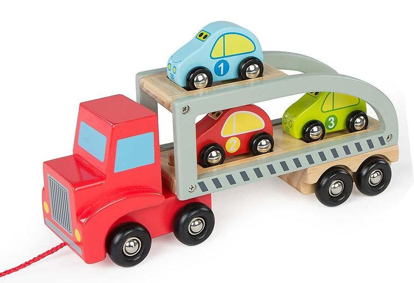 Camion remorque avec voitures
