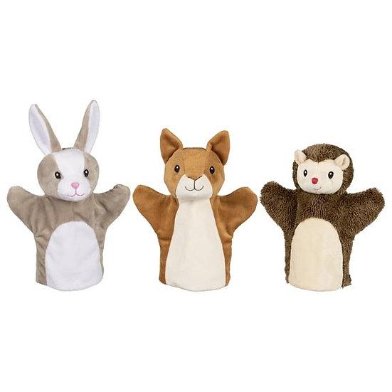 Marionnettes écureuil, lapin et hérisson