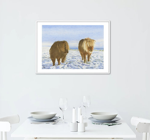 Ponies In The Snow: Print In Mount: