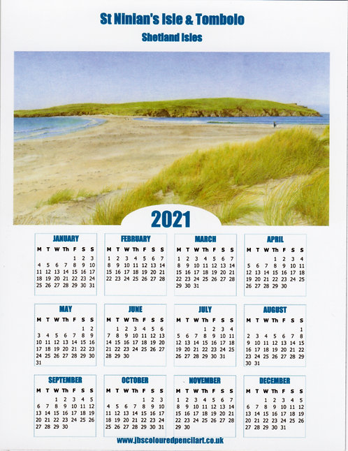 St Ninian's Isle & Tombolo 2021 Calendar Magnet: