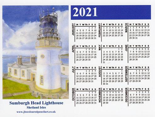 Sumburgh Head Lighthouse: 2021 Calendar Magnet: