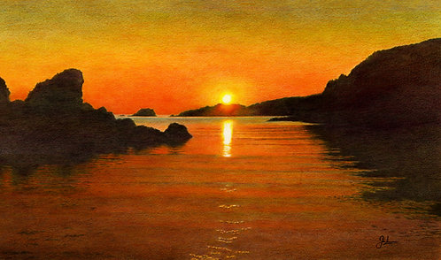 Spiggie Bay Sunset: Print In Mount