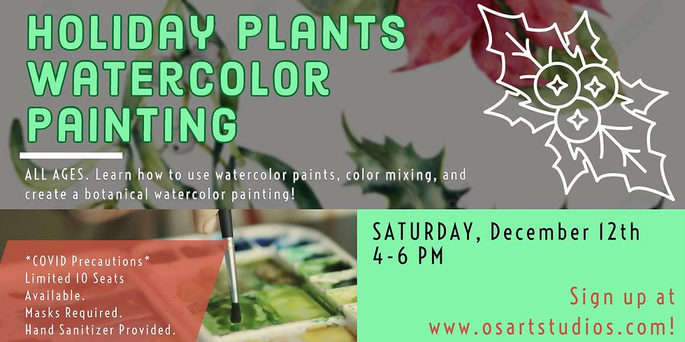 VIRTUAL Holiday Plants Watercolor Painting