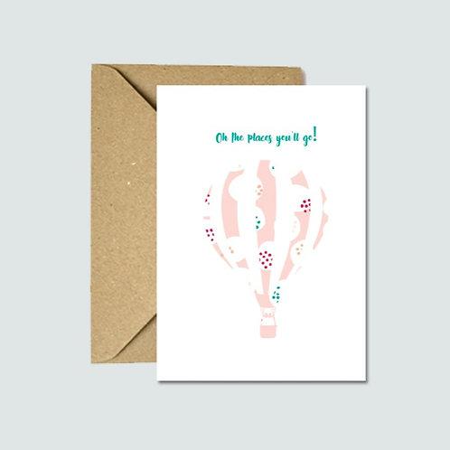 Hot Air Balloon Card (Pink)