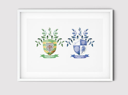 County Coat of Arms (Double) A3 Print