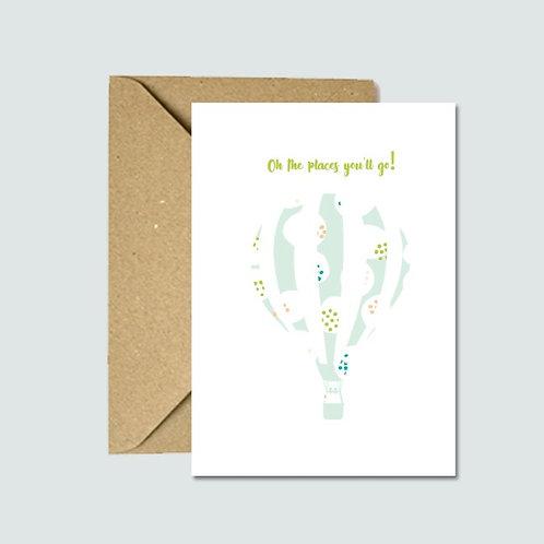 Hot Air Balloon Card (Blue)