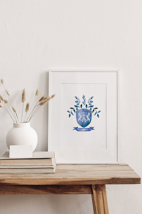 Watercolour Single Coat of Arms