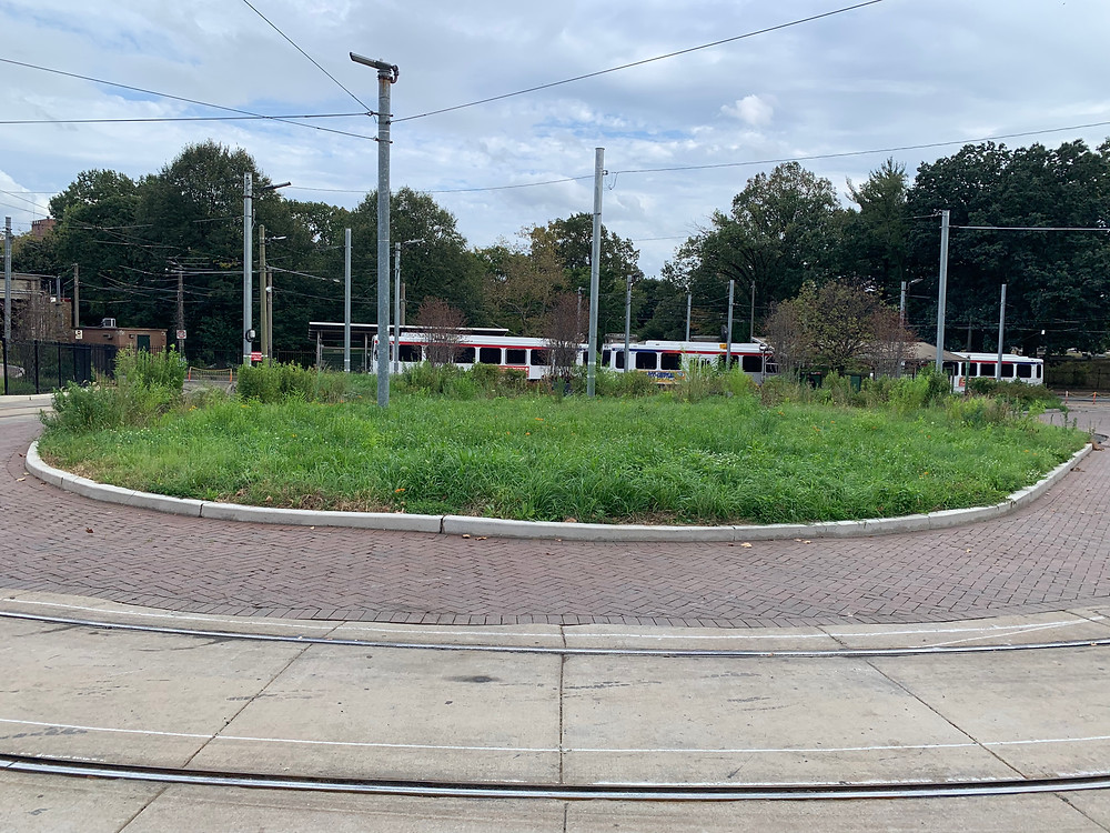 40th street trolley stop. The green area in front is where the above pictures were taken.