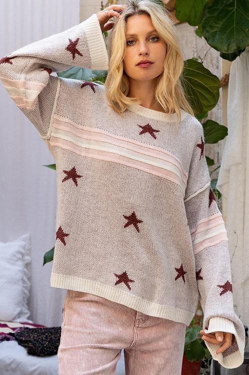 Burgundy Star Sweater