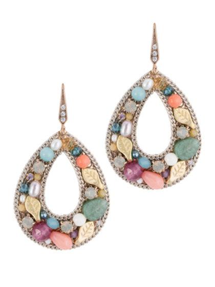 Coral Open Oval Earrings