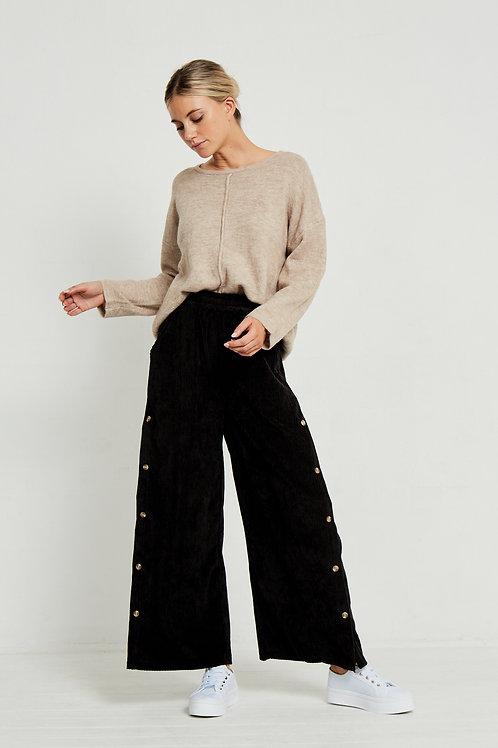 Side Button Corduroy Pants