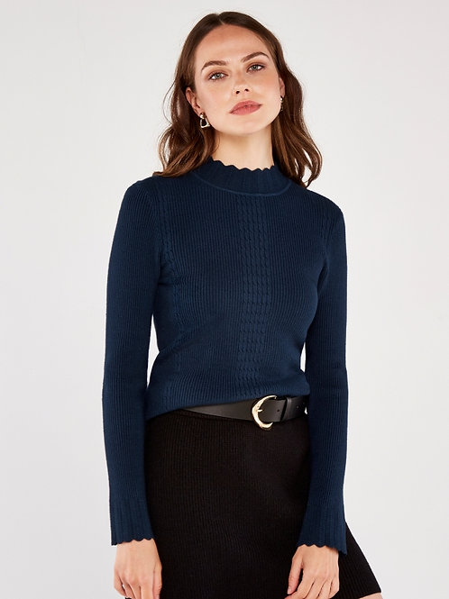 Navy Scallop Sweater