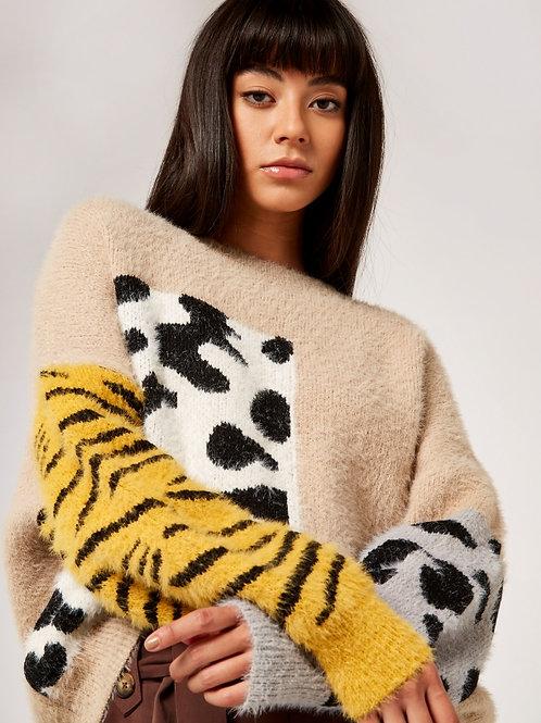 Animal Block Fuzzy Sweater