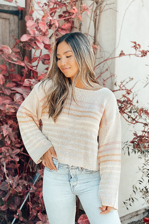 Sand Orange Striped Knit Pullover
