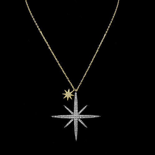Large Pave North Star Necklace