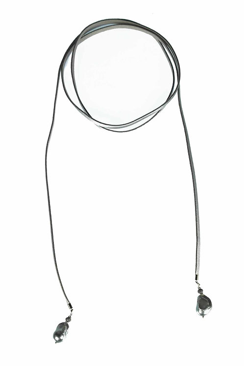 Leather & Pearl Lariat