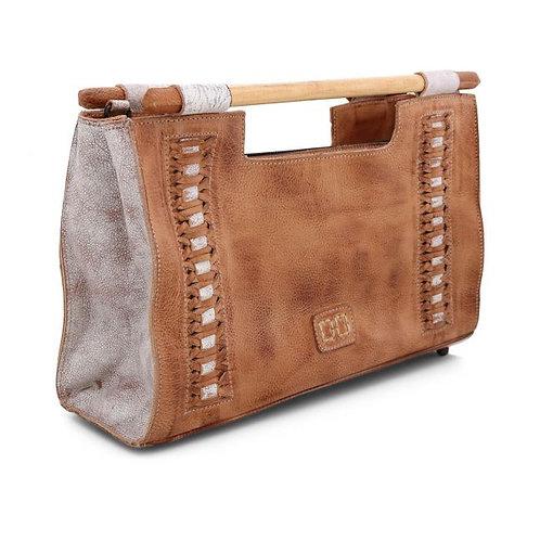 Wood Handle Leather Handbag