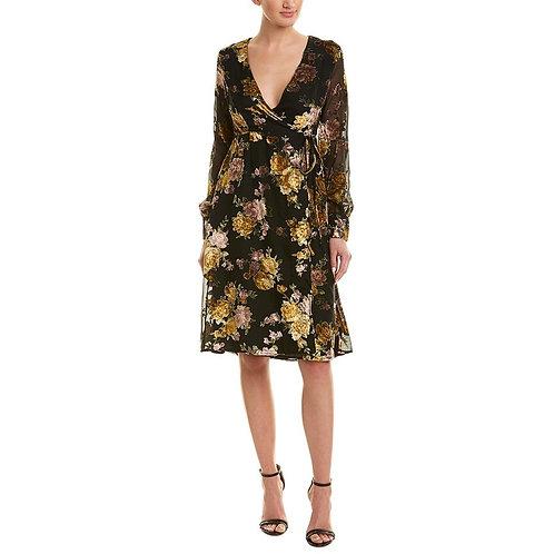 Velvet Floral Wrap Dress