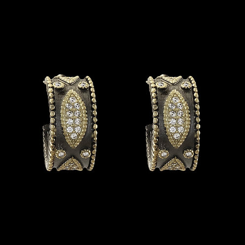 Gold Trim Huggie Earrings