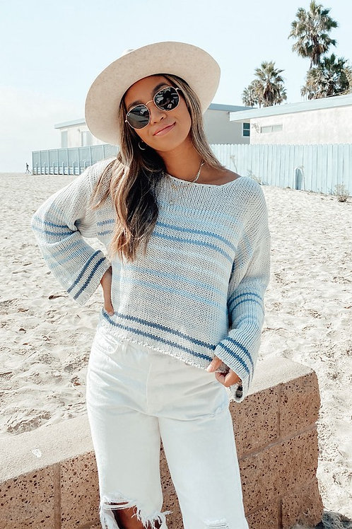 Silver Navy Striped Knit Pullover