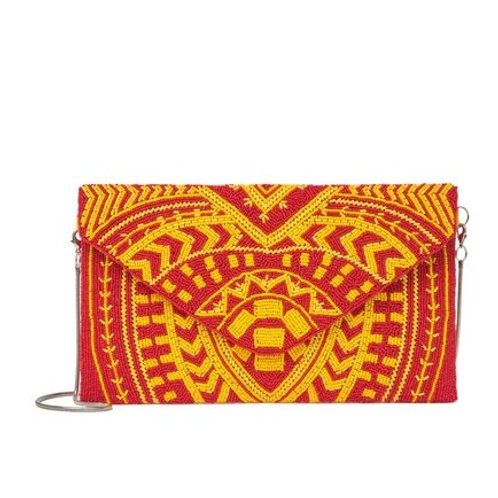 Red/Orange Beaded Clutch