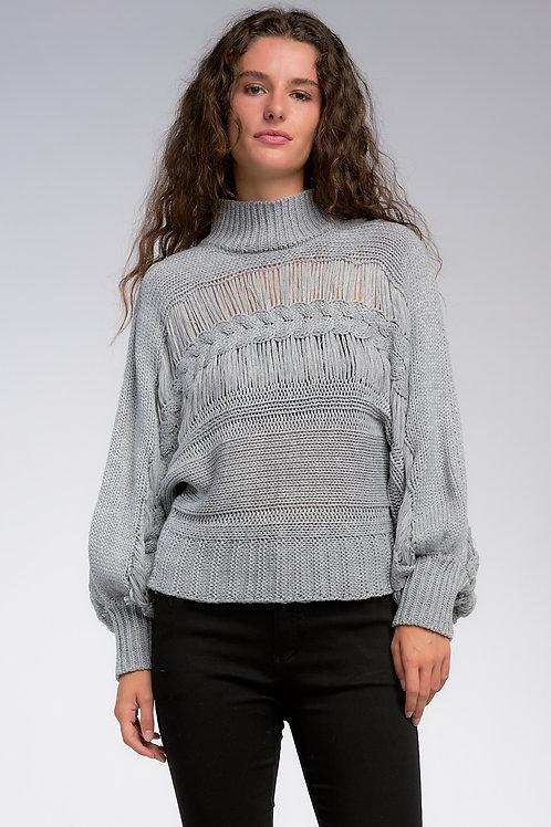 Turtleneck Open-Stitch Sweater