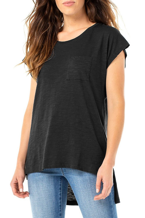 Scoop Neck Black Tee
