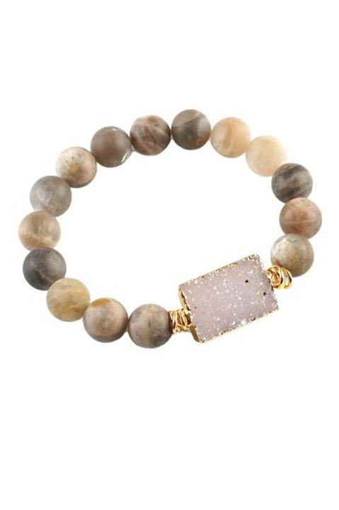 Moonstone Druzy Bracelet