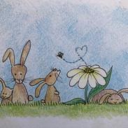 konijntjes in het gras iw