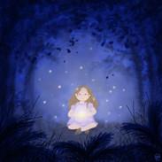 licht in het donkere bos iw