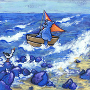 blauwe beer boot iw