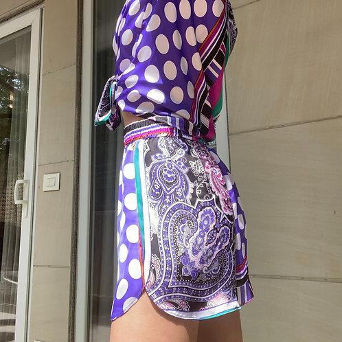 Purple Polka Shorts