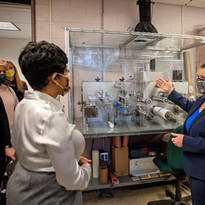 Sue Mecham, NALA CEO showing Machelle Sanders our equipment in the lab.