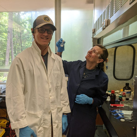 Michael Mecham, Lab Technician (left) with Judy Riffle, CTO (right)
