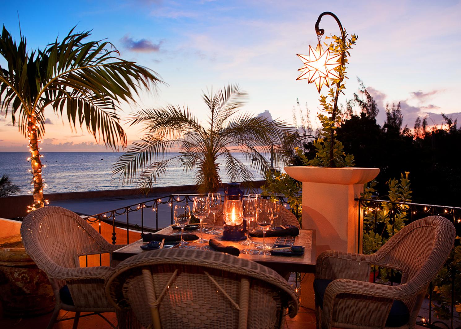 cafe luna barbados palm sunset