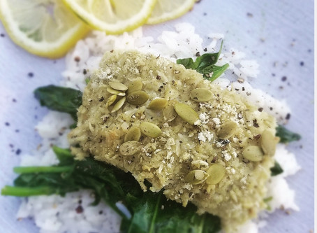 Pumpkin Seed and Coconut Crusted Cod (Paleo and Keto)