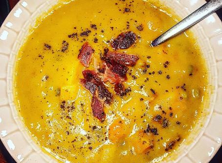 Roasted Butternut, Split Pea, and Bacon Soup (SCD diet)