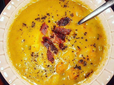 Roasted Butternut, Split Pea, and Bacon Soup (SCD diet)