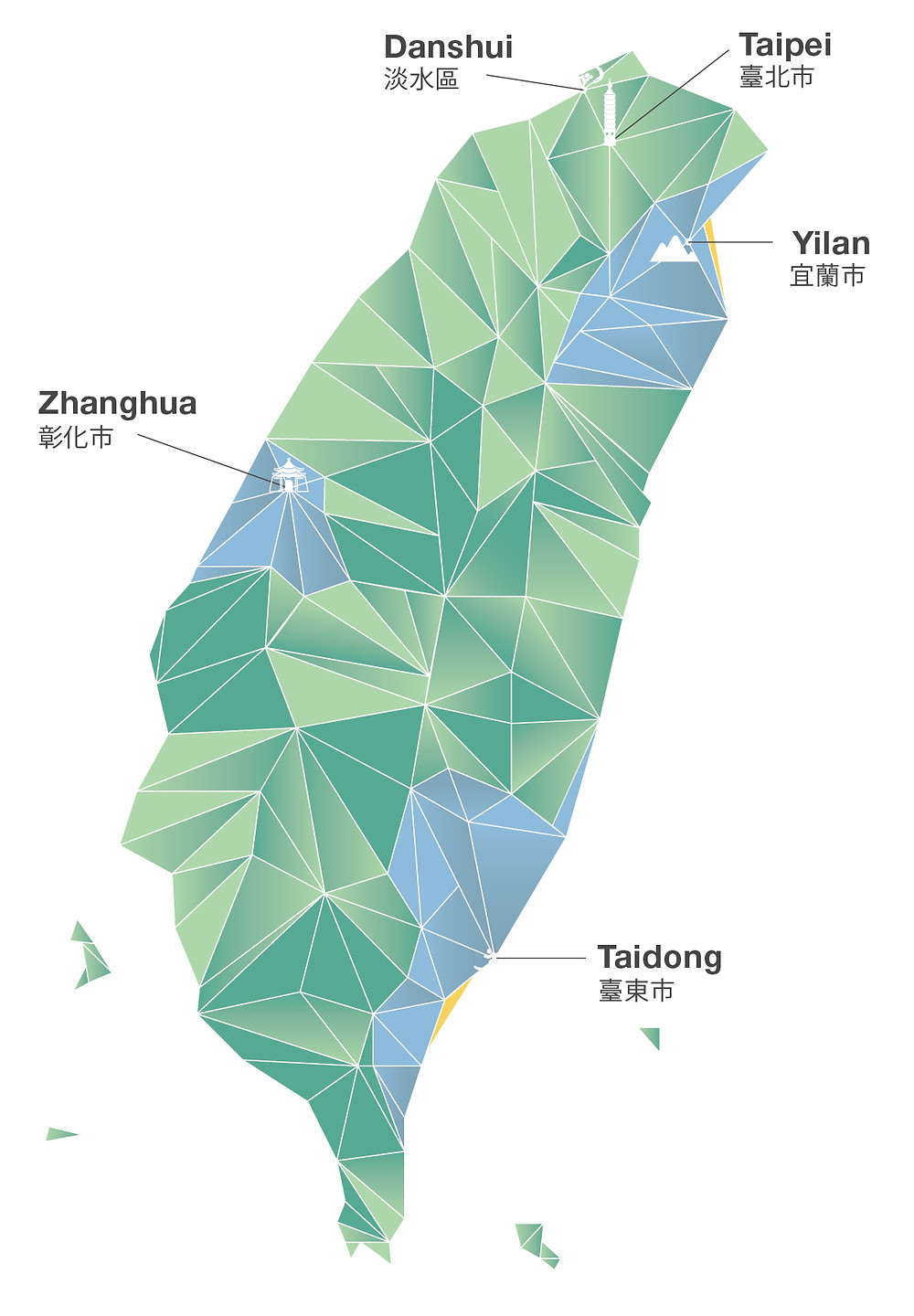 Yilan, Zhanghua, and Taidong are YWAM Taiwan's target locations