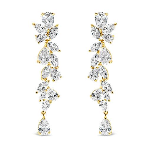Gold Cubic Zirconia Drop Earrings 142877