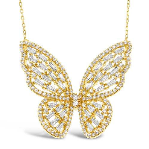 Bitter Sweet Gold Plated Sterling Silver Cubic Zirconia Butterfly Necklace 143005