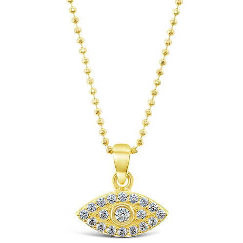 Bitter Sweet Gold Plated Sterling Silver Cubic Zirconia Evil Eye Necklace 128054