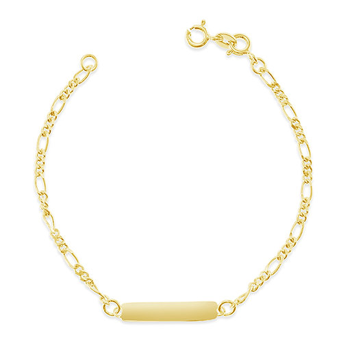 "Bitter Sweet Gold Plated Sterling Silver Figaro 6.5"" Inches Bracelet 143411"