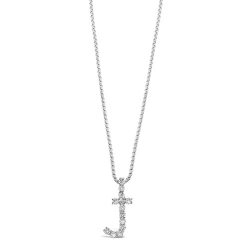 Bitter Sweet Jewelery Stainless Steel Cubic Zirconia Initial J Necklace 142317