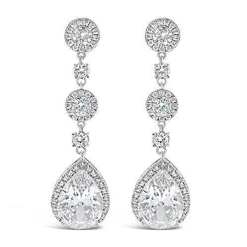 Bitter Sweet Bridal Silver Cubic Zirconia Tear Drop Earrings 124881