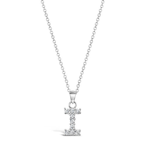 Sterling Silver Cubic Zirconia Initial I Necklace 142473