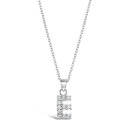 Sterling Silver Cubic Zirconia Initial E Necklace