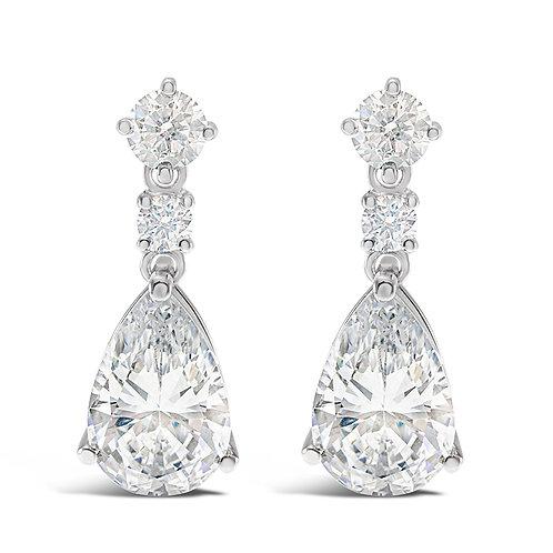 Bitter Sweet Sterling Silver Cubic Zirconia Tear Drop Earrings 141680