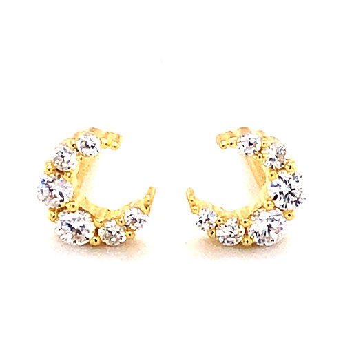 Bitter Sweet Gold Plated Sterling Silver Cubic Zirconia Moon Stud 139413